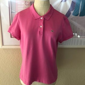 Lacoste Pink Stretchy Slim Fit  Polo Shirt Size 46